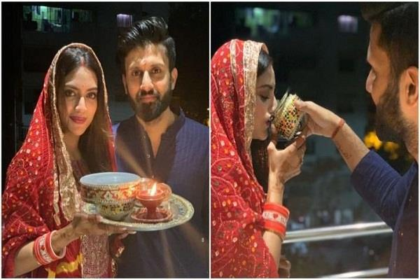 nusrat jahan celebrate her first karwachauth with nikhil jain