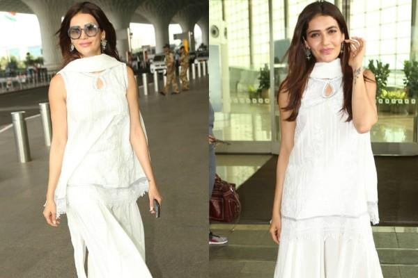 karishma tanna looks beautiful in plazo suit as she spotted at airport