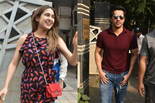 sara ali khan spotted at devid dhavan office with mom and varun dhawan
