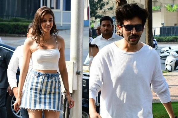 ananaya pandey and kartik aaryan spotted outside the restaurant