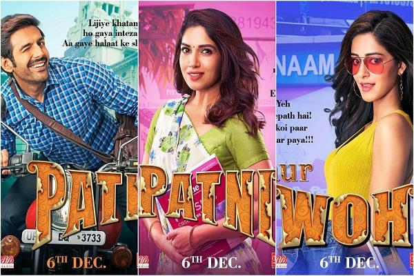 karthik bhumi and ananya seen in new style in pati patni aur woh posters