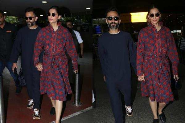 sonam kapoor spotted at airport with her husband anand ahuja