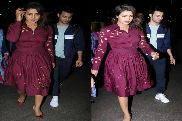 priyanka returned to mumbai seen with co actor in casual outfit