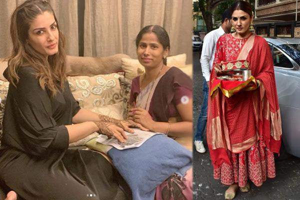 raveena tandon share photos on karwa chauth