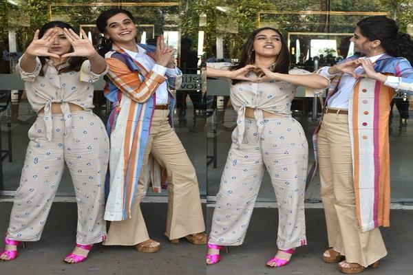 taapsee and bhumi seen stylish in a casual look