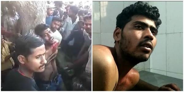 the villagers beat the young man by tying him to a tree the video went viral