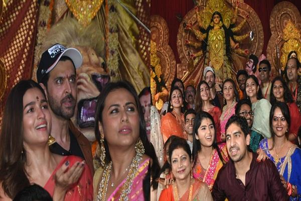 hrithik arrived to attend durga puja with rani mukerjee and alia