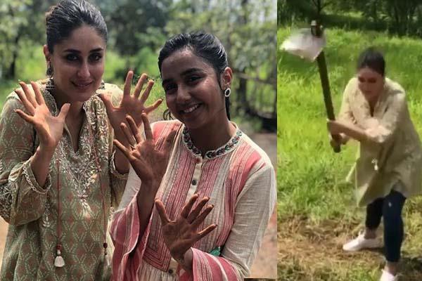 kareena kapoor khan makes farming fun see videos