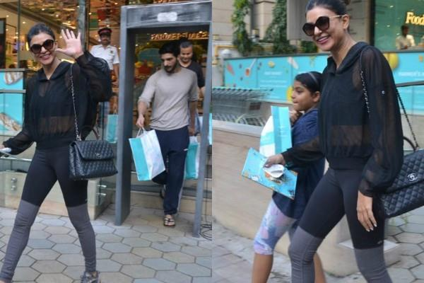 sushmita sen visits outside the foodhall with boyfriend and daughter