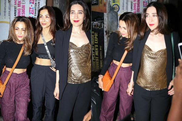 karisma kapoor spotted outside the restaurant with malaika arora amrita arora