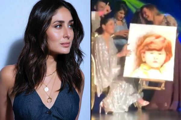 kareena kapoor khan receives cute portrait of taimur ali khan at event