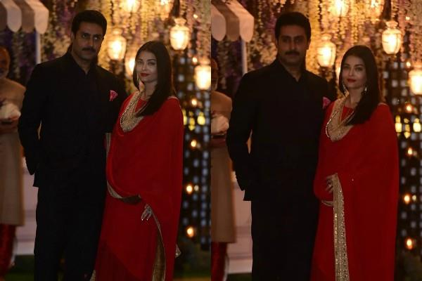 abhishek bachchan aishwarya rai attend mukesh ambani niece pre wedding bash
