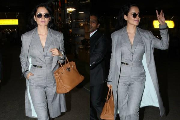 kangana ranaut monochrom look at airport