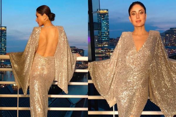 kareena kappor looks stylish in backless thigh slit dress