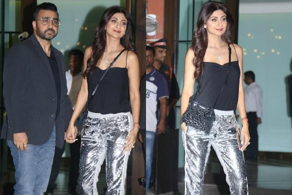 shilpa shetty looks stylish as she atttend party with hubby raj