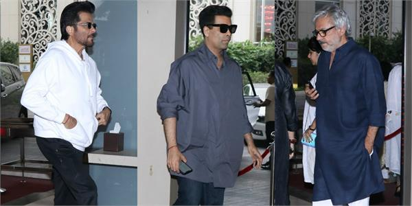 anil kapoor karan johar and many attends manish malhotra father prayer meet