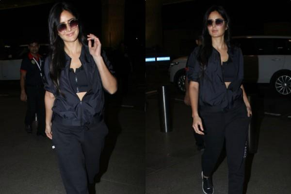 katrina kaif looks stunning in all black look as she spotted at airport