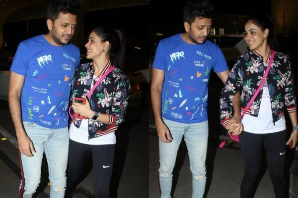 riteish deshmukh and genelia looked at airport