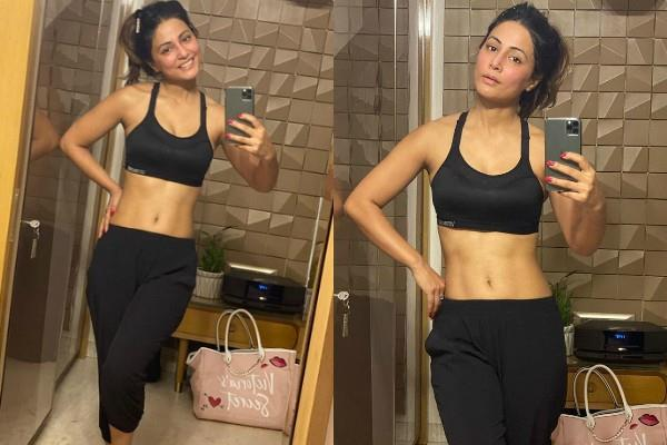 hina khan flaunts her toned body in gym outfit