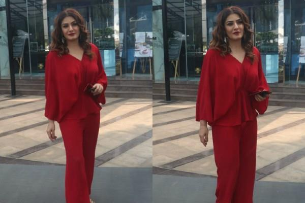 raveena tandon looks gorgeous in red outfit as she spotted at shoot location