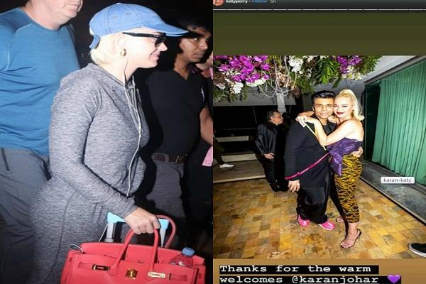 katy perry tells karan johar thank you spotted at the airport