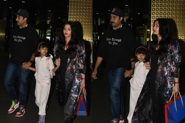 aishwarya rai return to mumbai with abhishek bachchan aaradhya