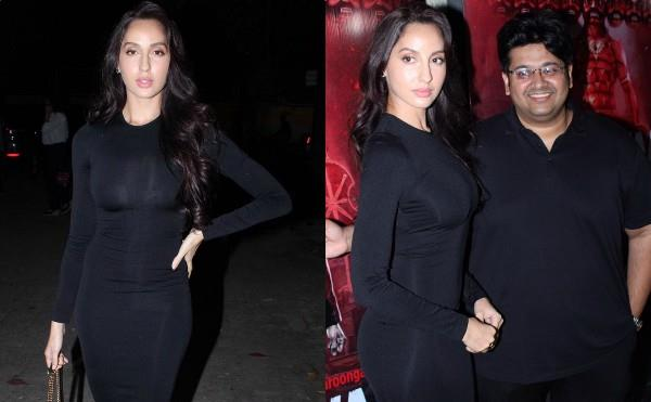 nora fatehi looks stylish as she attend marjaavaan screening