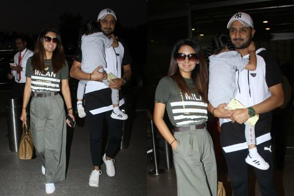 geeta basra spotted at airport with hubby harbhajan singh and daughter hinaya