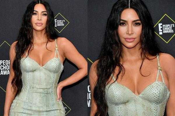 kim kardashian flaunts her toned body at people s choice awards