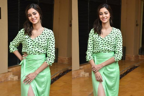 ananya pandey  bhumi pednekar and kartik aaryan during the film promotion