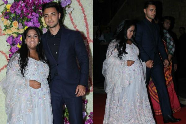 arpita khan flaunt her baby bump at party