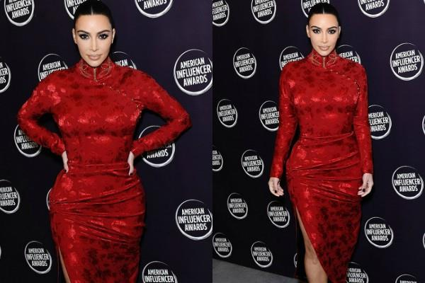 kim kardashian looks stunning in red look at american influencer awards