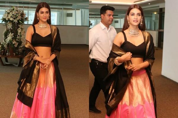 kriti sanon looks gorgeous as she attend panipat trailer launch