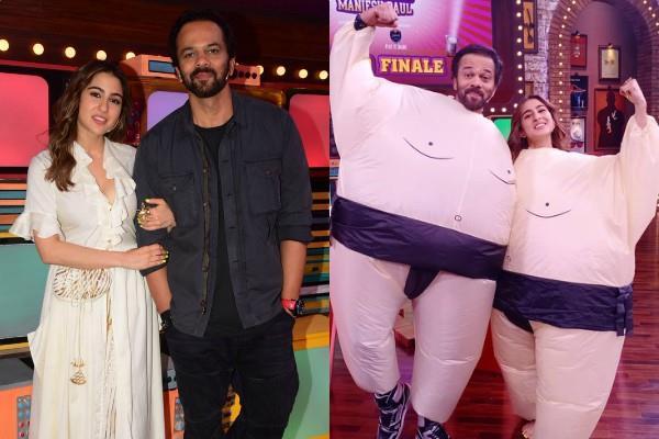 sara ali khan and rohit shetty at the set of movie masti with manish paul