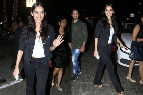 manushi chillar looks stunning as she spotted outside the restaurant