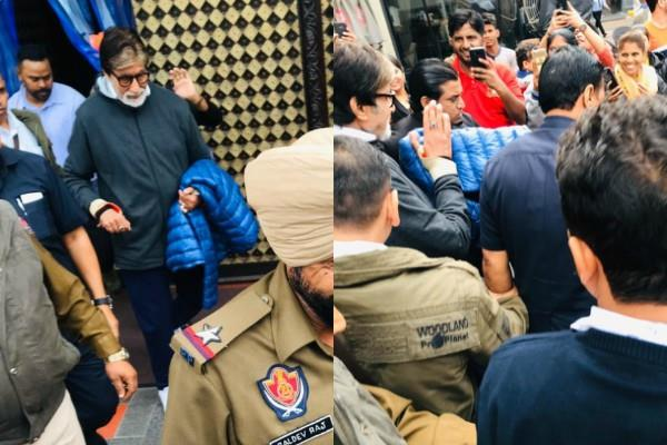 amitabh bachchan spotted outside the heritage haveli in ropar