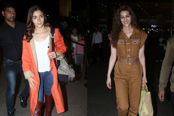 alia bhatt and kriti sanon spotted at airport