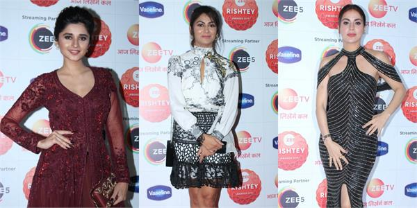 kanika mann shraddha arya and others spotted at zee rishtey awards show