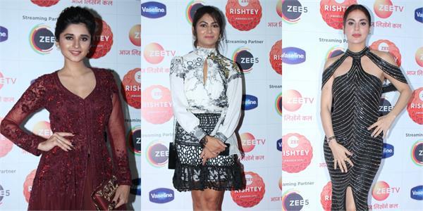 kanika mann shraddha arya and others spotted at zee rishtey awards show