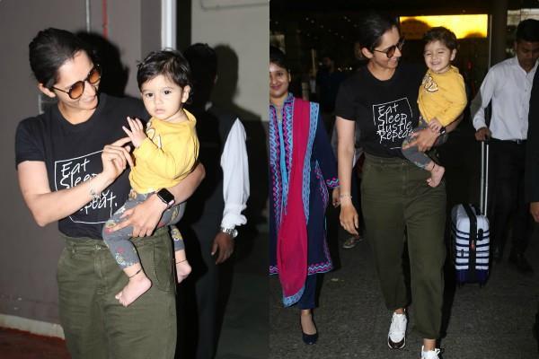 sania mirza spotted at mumbai airport with son izhaan mirza malik