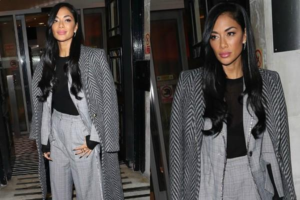 nicole scherzinger looks smart in trouser suit arrives at bbc radio 2