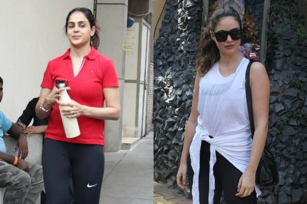 gabriella demetriades and genelia d cruz spotted outside the gym