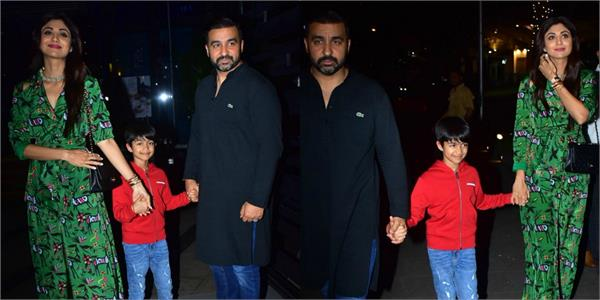 shilpa shetty spotted at restaurant with her husband and son