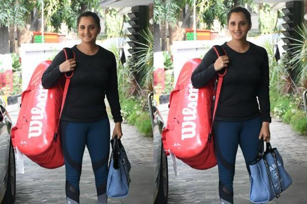 जिम के बाहर स्पॉट हुई सानिया मिर्ज़ा, क्यूट स्माइल में यूं दिए पोज