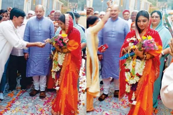 mohena kumari singh visit punjabi bagh ashram in delhi with hubby suyash rawat