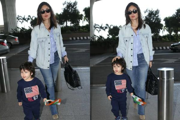 kareena kapoor spotted at airport with taimur