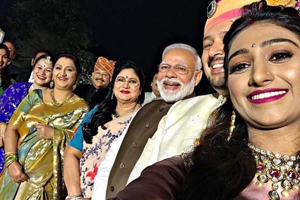 pm narendra modi attends mohena kumari suyesh rawat wedding reception in delhi