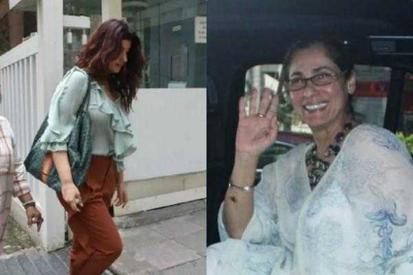 twinkle khanna spotted at hospital to meet to mom dimple kapadia