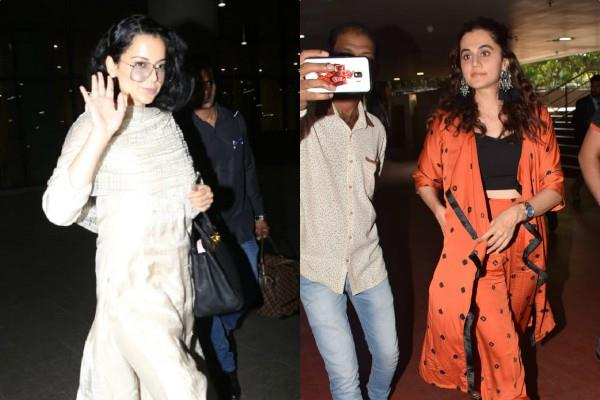kangana and taapsee pannu spotted at airport