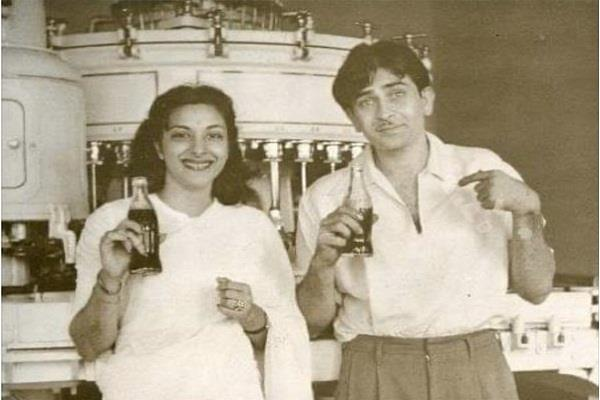 see pics of coca cola moment of raj kapoor and nargis